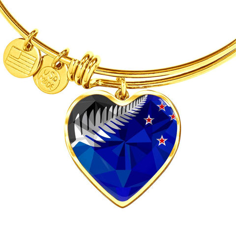 Image of New Zealand Jewelry Flag Silver Fern Luxury Heart Bangle - 1st New Zealand