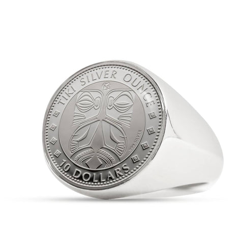 Image of Maori Tiki New Zealand Coin Ring 01 K5 - 1st New Zealand