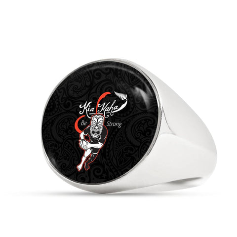 Rugby Kia Kaha Be Strong Ring - Black Version 2 K4 - 1st New Zealand