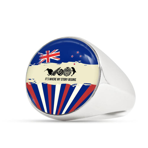 Image of New Zealand Where My Story Begins Ring Blue K5 - 1st New Zealand
