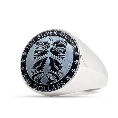 Image of Maori Tiki New Zealand Coin Ring 02 K5 - 1st New Zealand