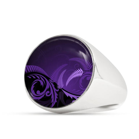 New Zealand Silver Fern Ring Purple K4 - 1st New Zealand
