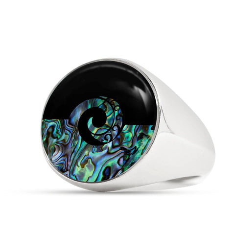 Image of Koru Paua Shell New Zealand Ring K5 - 1st New Zealand