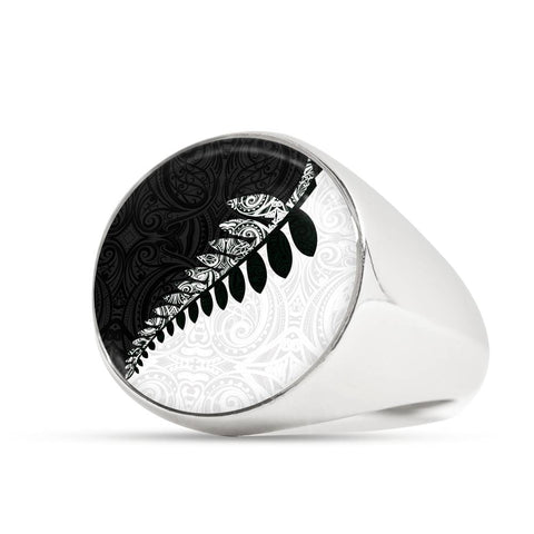 New Zealand Silver Fern Ring Black White K4 - 1st New Zealand