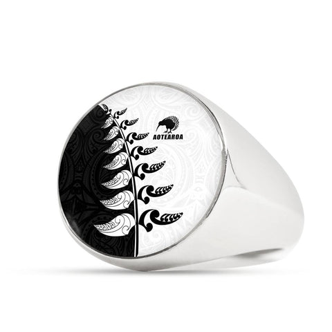 Image of Aotearoa Silver Fern Koru Style Ring Black White K4 - 1st New Zealand