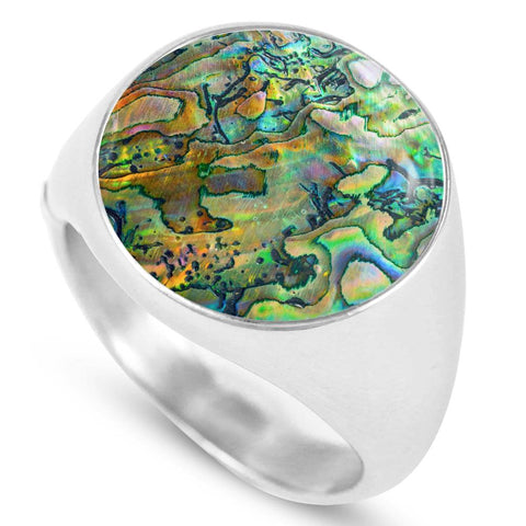 New Zealand Ring Maori Paua Shell 2 K4 - 1st New Zealand
