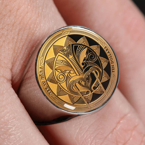 Maui And The Sun New Zealand Gold Coin Ring K5 - 1st New Zealand