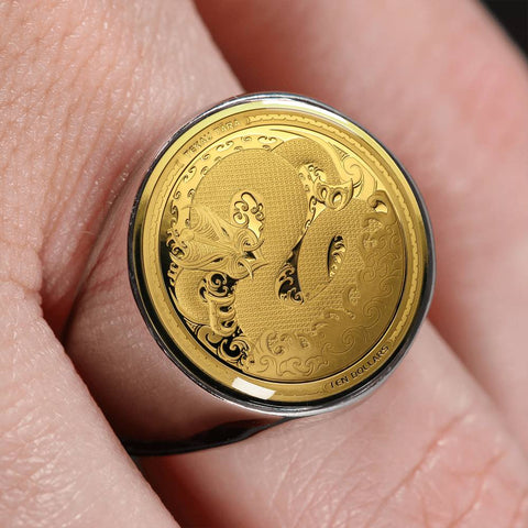 Image of Taniwha Maori Tekau Tara New Zealand Coin Ring K5 - 1st New Zealand