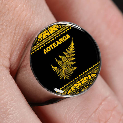 Aotearoa Silver Fern Ring Yellow K4 - 1st New Zealand