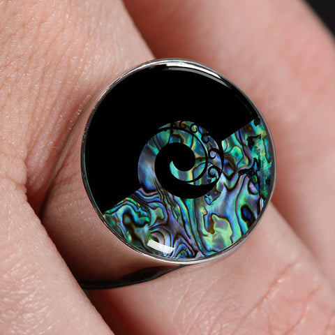 Koru Paua Shell New Zealand Ring K5 - 1st New Zealand
