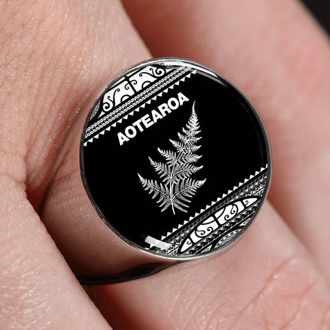 Aotearoa Silver Fern Ring White K4 - 1st New Zealand