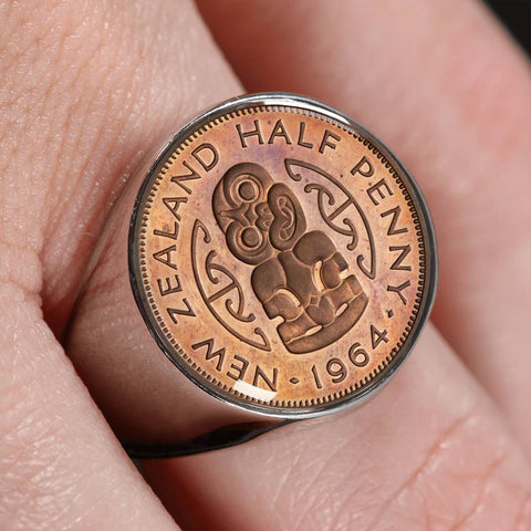 Maori Hei Tiki New Zealand Coin Ring K5 - 1st New Zealand