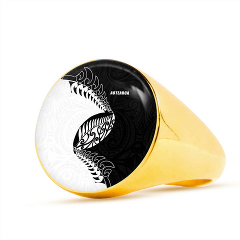 Aotearoa Rugby Fern Ring Black White K4 - 1st New Zealand