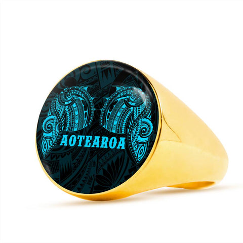 Image of Aotearoa Maori Tattoo Ring Blue K4 - 1st New Zealand