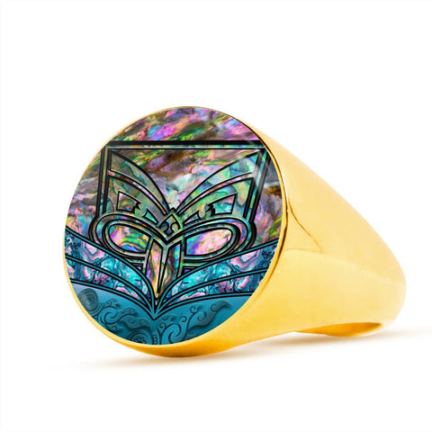 New Zealand Warriors Ring Paua Shell K4 - 1st New Zealand