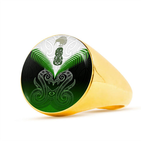Maori Manaia Ring Green K4 - 1st New Zealand