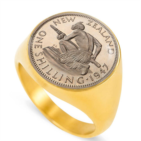 Maori New Zealand Coin Ring 03 K5 - 1st New Zealand