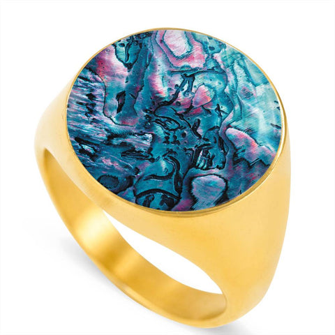New Zealand Paua Shell Ring K4 - 1st New Zealand