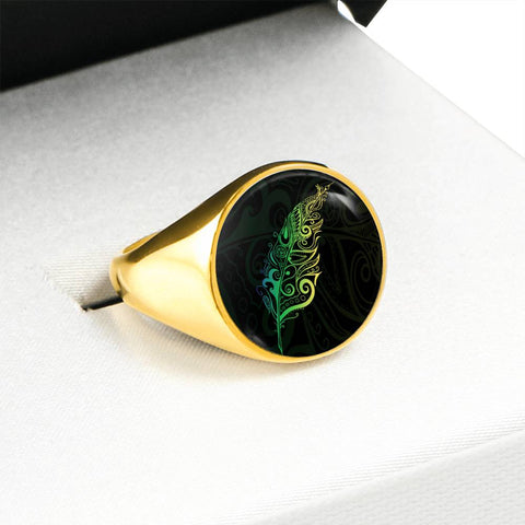 Image of Light Silver Fern New Zealand Ring K5 - Green