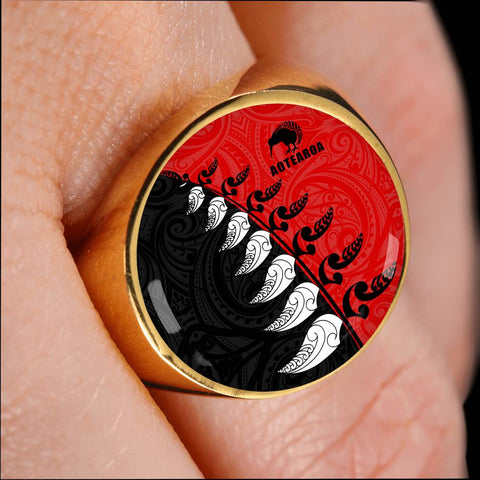 Aotearoa Silver Fern Koru Style Ring Red K4 - 1st New Zealand