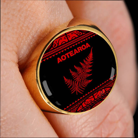 Aotearoa New Zealand Maori Ring Silver Fern Red K4 - 1st New Zealand