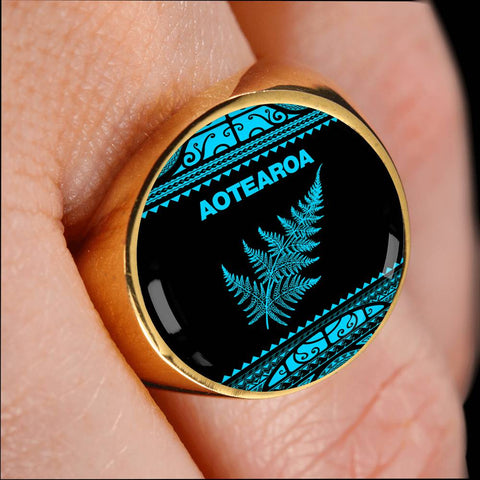 Aotearoa New Zealand Maori Ring Silver Fern Blue K4 - 1st New Zealand