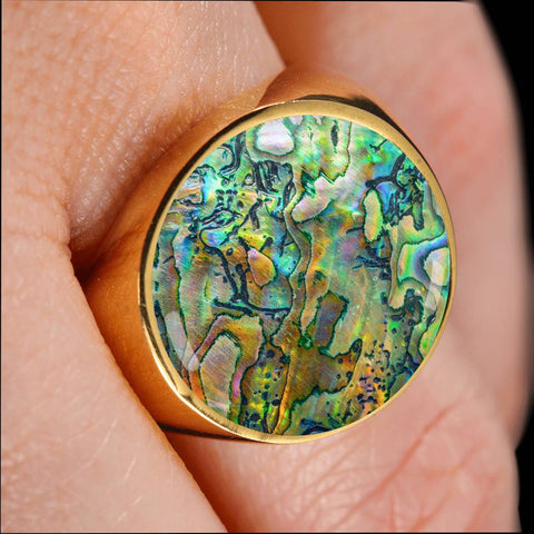 Image of New Zealand Ring Maori Paua Shell 2 K4 - 1st New Zealand