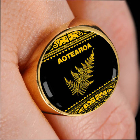 Aotearoa New Zealand Maori Ring Silver Fern Yellow K4 - 1st New Zealand
