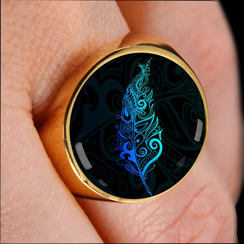 Image of Light Silver Fern New Zealand Ring K5 - Blue