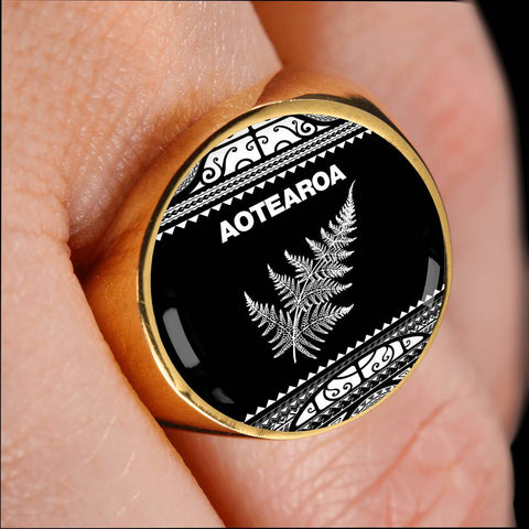 Aotearoa New Zealand Maori Ring Silver Fern White K4 - 1st New Zealand
