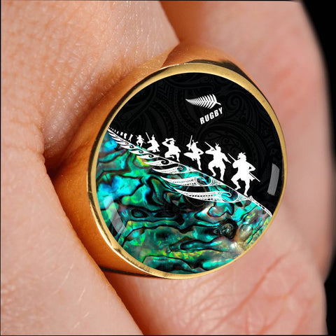 Image of Rugby Haka Fern Ring Paua Shell  K4 - 1st New Zealand
