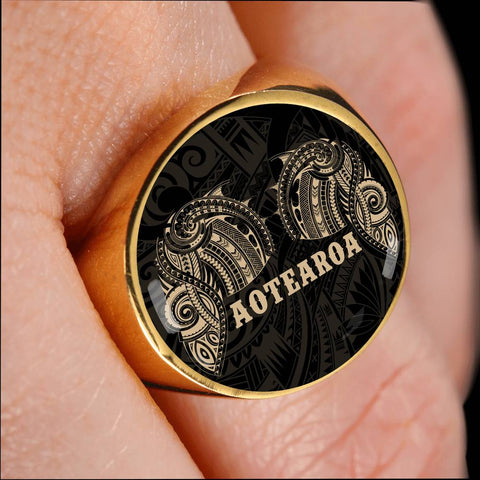 Image of Aotearoa Maori Tattoo Ring Golden K4 - 1st New Zealand