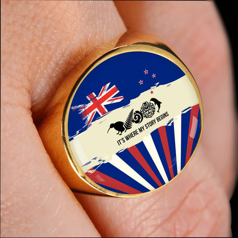 New Zealand Where My Story Begins Ring Blue K5 - 1st New Zealand