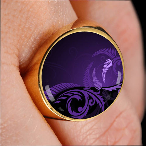 Image of New Zealand Silver Fern Ring Purple L1 - 1st New Zealand