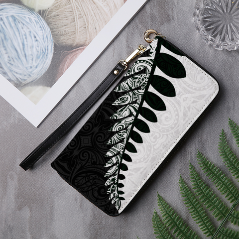 Image of New Zealand Silver Fern Wallet Black White K4 - 1st New Zealand