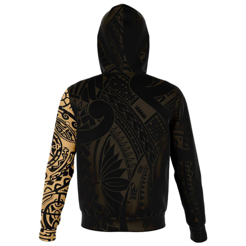 Leo Zodiac Zip Hoodie Aotearoa Maori Tattoo | Love New Zealand | Clothing back