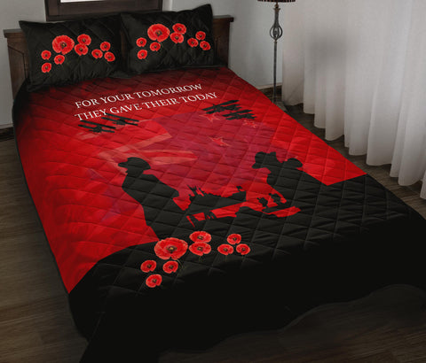 Image of New Zealand Quilt Bed Set, Lest We Forget Anzac Day Poppies Quilt And Pillow Cover - 1st New Zealand