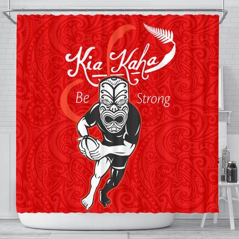 Rugby Kia Kaha Be Strong Shower Curtain Red Ver.2 K40