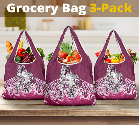 Maori Manaia The Blue Sea Grocery Bag 3-Pack, Pink K5
