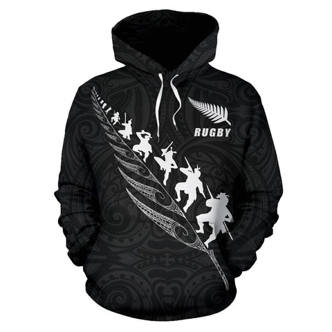 Image of New Zealand Rugby Hoodie, Maori Haka Fern Pullover Hoodie K4 - 1st New Zealand