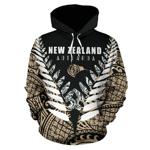 New Zealand Aotearoa Silver Fern Hoodie - Gold Vline Version front