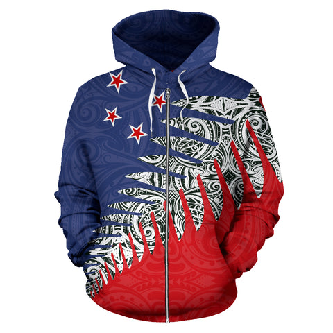 New Zealand Silver Fern™ Zip Up Hoodie Red K4 - 1st New Zealand