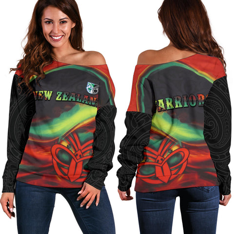 Image of New Zealand Warriors Off Shoulder Sweater Fire K4 - 1st New Zealand