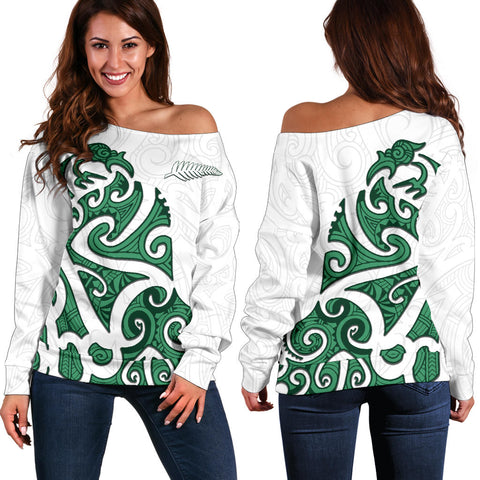 Image of Maori Protection Tattoo Off Shoulder Sweater K4 - 1st New Zealand