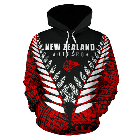 New Zealand Aotearoa Silver Fern Hoodie - Red Vline Version front