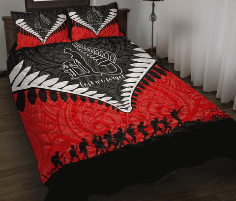 New Zealand Anzac Quilt Bed Set, Lest We Forget Silver Fern Quilt And Pillow Cover - Red K4 - 1st New Zealand