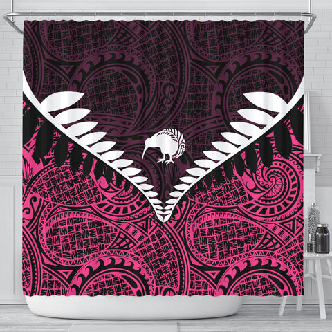 Image of Kiwi Silver Fern Classic Shower Curtain Pink K40