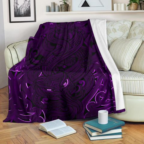 New Zealand Premium Blanket, Maori Gods Tumatauenga (God of War) - Purple K4 - 1st New Zealand