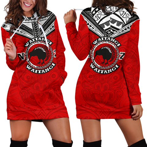 New Zealand Maori Hoodie Dress Waitangi Day - Red K5 - 1st New Zealand