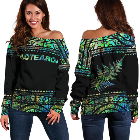 Aotearoa New Zealand Maori Off Shoulder Sweater Silver Fern - Paua Shell K4x - 1st New Zealand